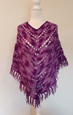 Knitted Crocheted Poncho Vintage Retro Purple