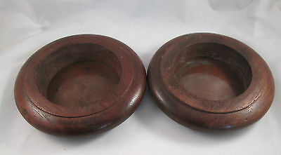 A Pair of Brass & Woodenware Wine Coasters