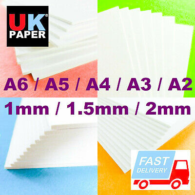 1mm - 2mm CARD BOARD WHITE CARDBOARD BACKING SHEETS THICK RECYCLED PAPER A3 GREY