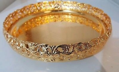 Gold Royal Indian Round Gallery Tray Plate Paandan Paan Leaf Tea Tray Biscuit
