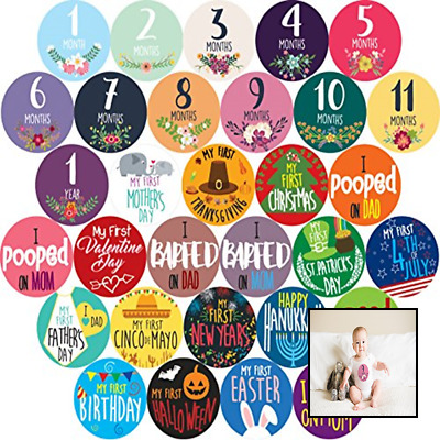 Baby Girl Monthly Milestones Baby's Firsts & Holiday Sticker Pack Shower Gifts F