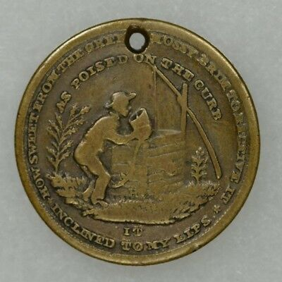 1840's Temperance Token, New York Prohibition, Health Wealth Happiness Longlife