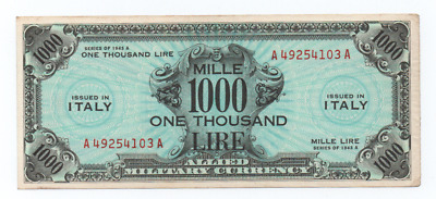 1000 Am Lire Bilingue Occupazione Americana In Italia Decr 1943  Spl++