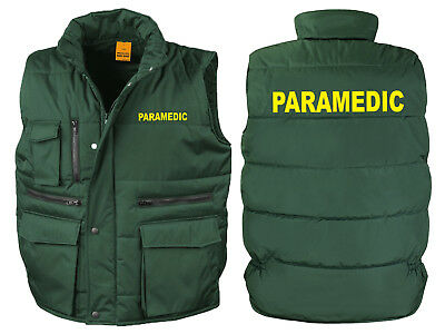 Paramedic Bodywarmer Gilet Bottle Green Printed Ambulance First Aid Jacket Coat
