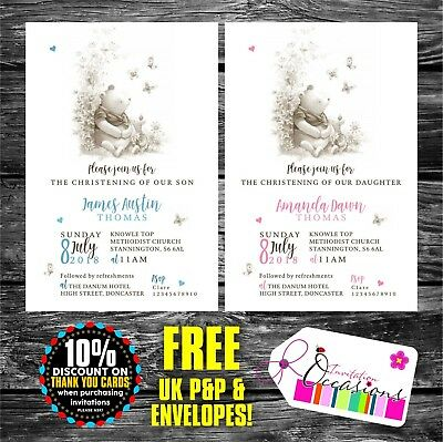 Winnie the Pooh Personalised Christening, Baptism, Naming Day Invitations x 5