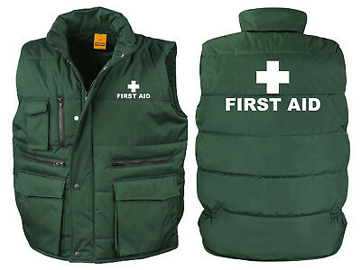 First Aid Bodywarmer Gilet Bottle Green Printed Ambulance Medic Jacket Coat