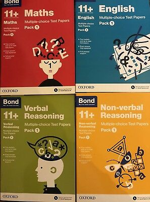 Bond 11+Test Papers Set Of Four Packs All Pack 1 Verbal Non-Verbal Maths English