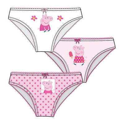 Peppa Pig Briefs Pants Knickers Girls Pack Of 3 2-8 Years 100% Cotton NEW