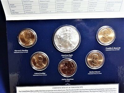 2014 US Mint Annual Uncirculated Dollar Coin Set W/ SILVER EAGLE ~ XA6