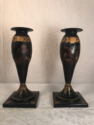 Pair Of Antique English Toleware Decorated Candlesticks