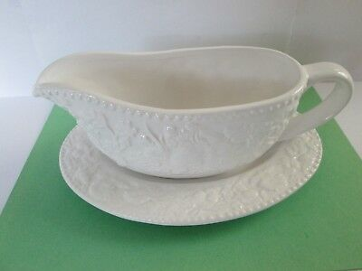 Kate Williams,Gravy Boat & Saucer Embossed Floral Design,9 1/2 inch large ,Mint