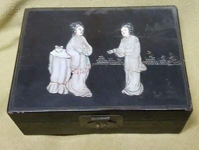 Black Vintage Asian Japan Geisha Mother of Pearl Jewelry Box Hand Painted Lining