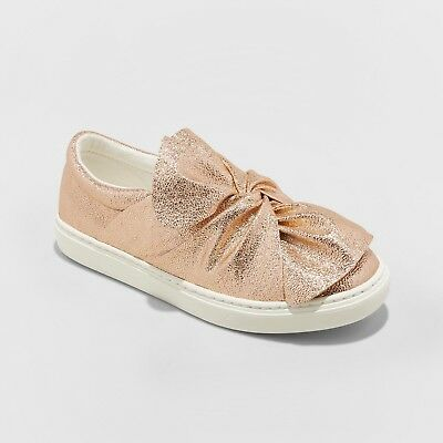 5cb4ede9b4a6 NWT Girls' Mallory Slip on Sneakers - Cat & Jack Gold Bow Glitter Shine