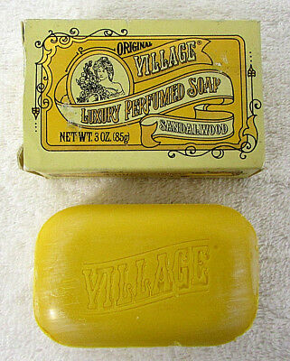 SANDALWOOD Bar Soap 3oz ORIGINAL w/ Box Collectible Vintage VILLAGE BATH RC21