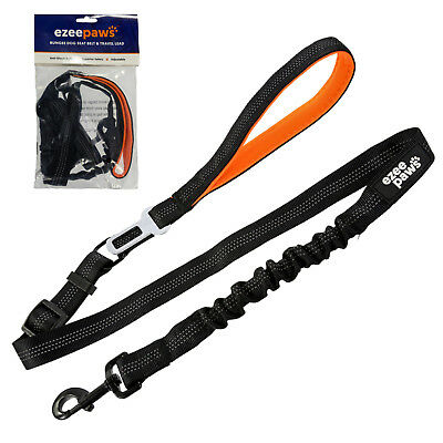 Anti-Pull Dog Lead Bungee Leash with Built in Pet Seat Belt Clip for Car