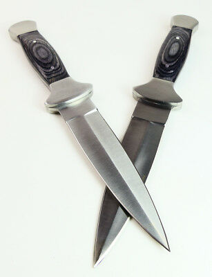 "Pair of 9"" COWBOY BOOT KNIVES 2 Western Double Edge Stealth Dagger Wood Leather"