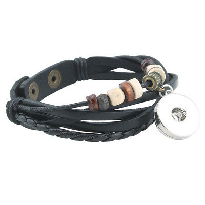 Charm Bracelets Jewelry Style Braided rope leather Bracelet Women men SnapButton