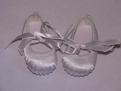 Shoes To Fit The American Galoob Baby Face Girl White Hard Toe Ballerina Flats