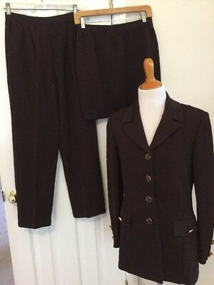 St John Collection by Marie Gray santana Knit brown 3 Piece Pant Suit Size 4 6