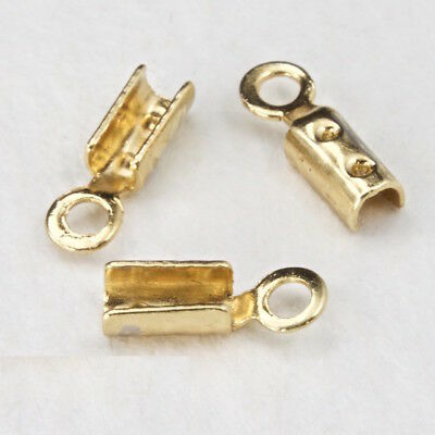 5mm Fold-Over Gold Tone Chain Crimp with Loop #CCB153