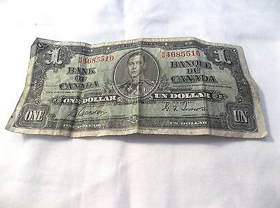 Bank of Canada 1937 One Dollar Gordon Towers Bill In Very Good Condition