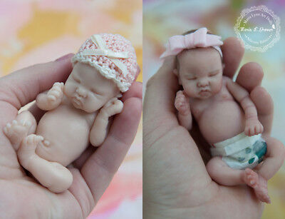"Silicone 5"" Miniature Baby Girl Blank Kit - Eva - Full Body Mini Doll EcoFlex"