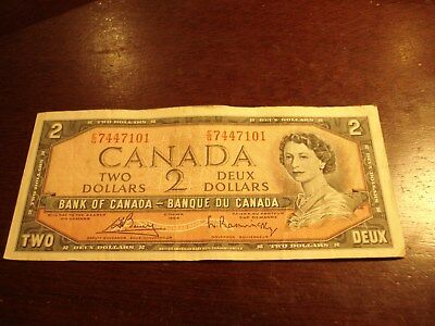1954 - Canada two dollar bill - $2 Canadian note - EG7447101