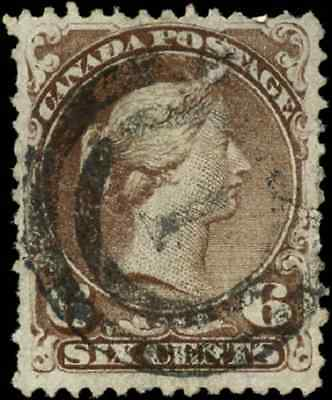 Canada #27 used F 1868 Queen Victoria 6c dark brown Large Queen 2-ring cancel
