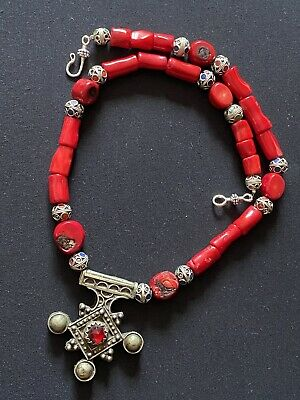 Boghdad Morrocan southern Berber cross & Red coral African Tuareg necklace.