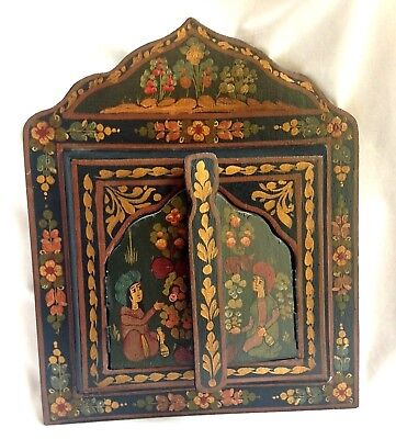 Moroccan Painted Opening Hinged Door Folk Art w/ Mirror Inside Wall Hanging VGUC