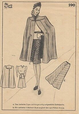 Very elegant cape and skirt pattern 190, Haslam,Golden Rule sewing