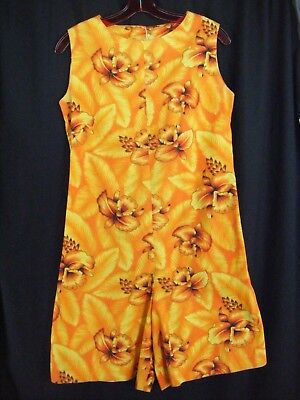 Vtg 70s Yellow Brown Hawaiian Printed Sleeveless Summer Romper-Bust 37/2XS-XS