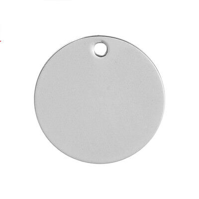 High quality Stainless Steel Blank Stamping Tag Pendant Round Silver Tone 10 PCs