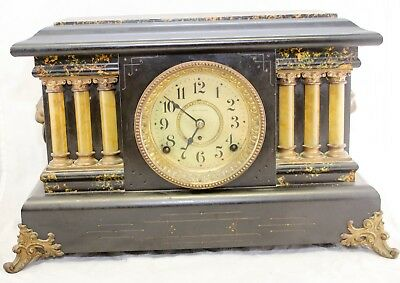 Antique Early 1900s Seth Thomas Adamantine Mantle Clock -For Parts / Repair