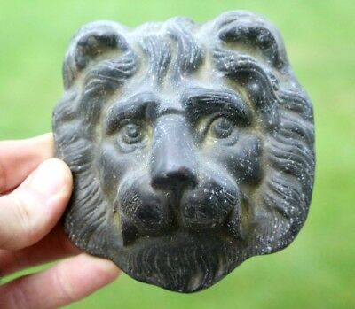 "4.5"" Vintage Brass Lion Head Face Door Knocker Ornate Head Only (Missing Ring)"