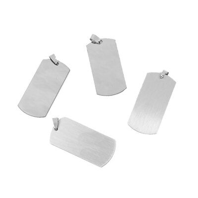 10PCs Stainless Steel Blank Stamping Tags Rectangle Pendants Silver Tone D1J9