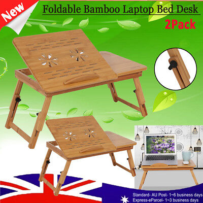 2X Adjust Portable Laptop Stand Desk Table Tray Bed Mouse Holder Bamboo Folding