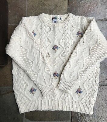 Small Jump Floral Jumper Embroidered Vintage Cable Knit Womens Winter