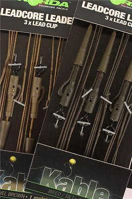 Korda Carp Fishing Ready Tied Hybrid Lead Clip Leadcore Leaders - All Colours