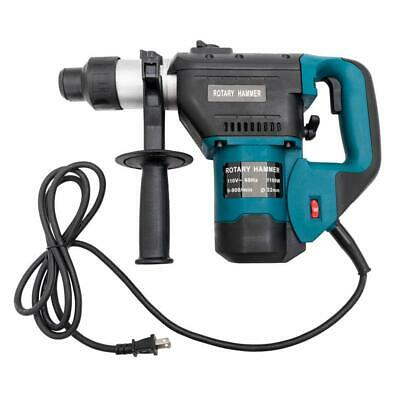 "Blue Adjustable Speed 1-1/2"" SDS Electric Rotary Hammer Drill + Demolition Bits"