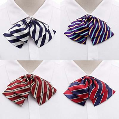 Women Waiter Rainbow Zebra Stripe Bow Tie Polyester Silk Butterfly Bowtie Collar