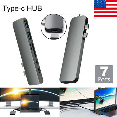 7 in 1 USB C Hub Type-C Card Reader Adapter Aluminum 4K HDMI For MacBook Pro US