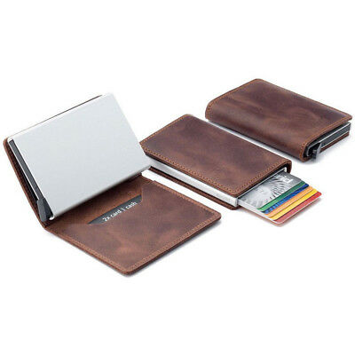 Genuine Leather Credit Card Holder Money Cash Wallet Clip RFID Blocking Purse CG