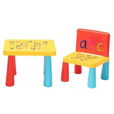 Kids Plastic Table and Chair Set Furniture Activity Toddler Toy Play Home Gifts