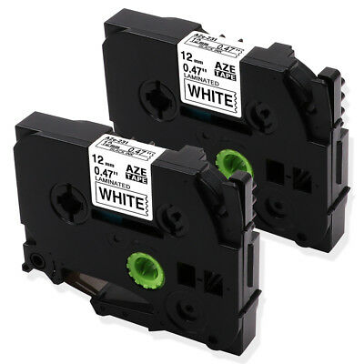 2PK TZe-231 Compatible Brother P-Touch Black on White Label Tape Maker 12mm