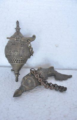 2 Pc Old Brass Unique Fish & Egg Shape Handcrafted Box & Bottle , Rich Patina