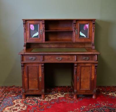 Antique Walnut Art Nouveau Pedestal Desk With Extendable Desk Top Circa 1910