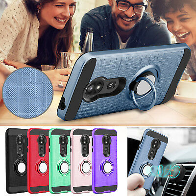 For Motorola Moto E5 Play/Cruise Hybrid Shockproof Ring Stand Rugged Case Cover