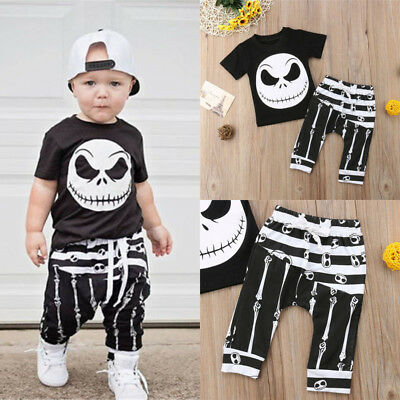 Toddler Kids Baby Boys Halloween T-shirt Tops+Long Pants Outfits Set Clothes
