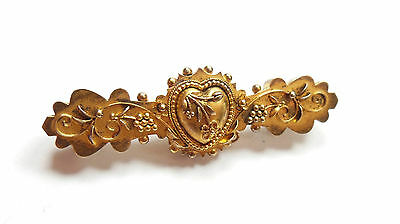 Antique Victorian Brooch Love Heart And Flower 15 Carat Yellow Gold 4g
